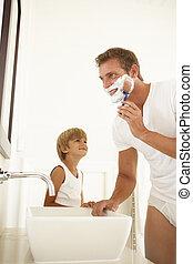badkamer, schouwend, vader, zoon, spiegel, het scheren