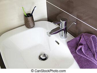 badkamer, tijdgenoot, zinken