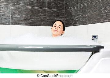 badkamer, vrouw