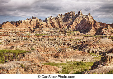 badlands, accidenté, paysage