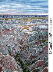 Badlands at sunrise, South Dakota, USA