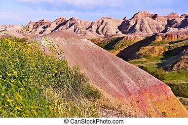 Badlands Buttes - Badlands National Park, South Dakota, USA...