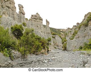 Badlands hoodoos of Putangirua Pinnacles, NZ