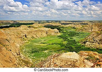 Badlands in Alberta, Canada - View of Red Deer river valley...