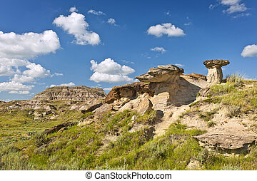 Badlands in Alberta, Canada - View of the Badlands and ...