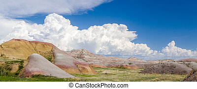 Panoramic View of Badlands National Park in southwestern South Dakota, USA.