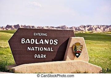 Badlands National Park Sign