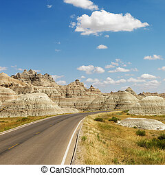 Badlands, North Dakota. - Scenic roadway in Badlands...