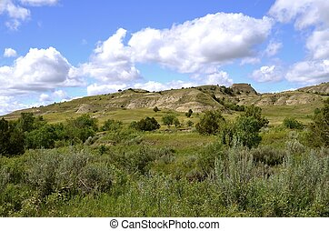 Badlands of North Dakota - Scenic view of the buttes and ...