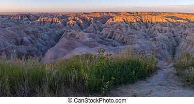 Badlands South Dakota at Sunrise
