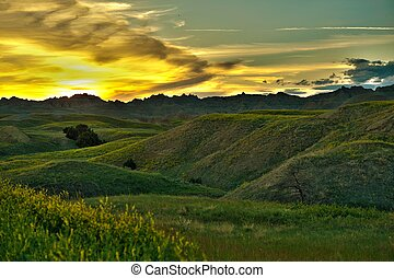 Badlands Sunset Scenery