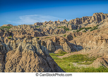Badlands with jagged peaks
