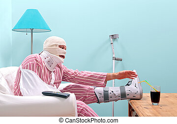 Badly injured man recovering at home - Photo of a injured...