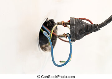 Badly wired plug showing bad and wrong and dangerous...