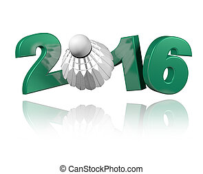 Badminton 2016 design with a white Background
