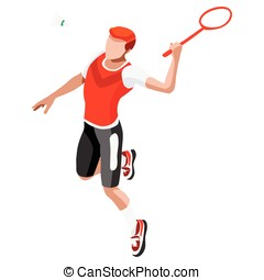 Badminton 2016 Sports 3D Isometric Vector Illustration