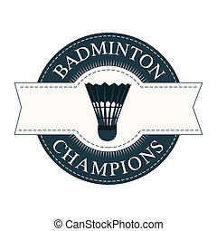 Badminton - abstract badminton ball label on white...