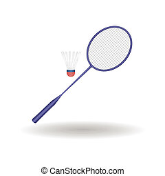 Badminton - abstract badminton racket and ball with shadow...