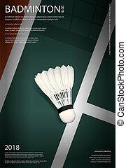 badminton, affiche, championnat, vecteur, illustration