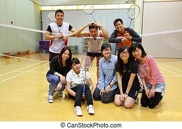 badminton, amici, asiatico, gioco