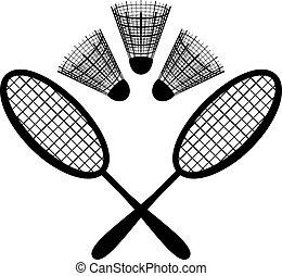 badminton, ausrüstung, silhouette