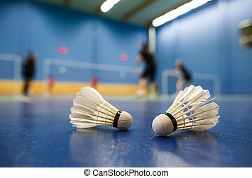 badminton - badminton courts with players competing; ...