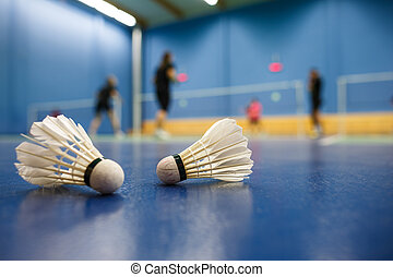 badminton - badminton courts with players competing;...