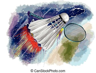 badminton championship. racquet and shuttle in fire on...