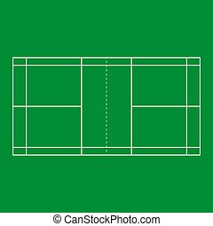 Badminton court background green color. Vector eps10
