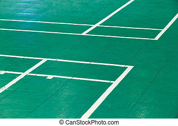 Badminton court - Close up corner of old and dirty green ...