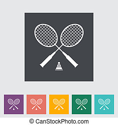 Badminton. Single flat icon. Vector illustration.