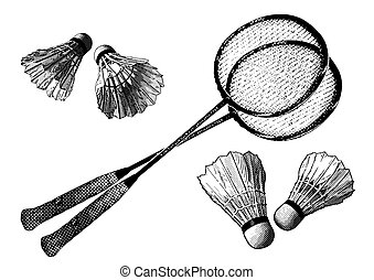 badminton equipment in the white background