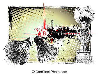badminton frame - illustration of the badminton in the...