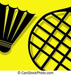 badminton, gelber , piktogramm