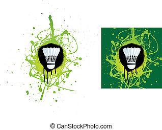 badminton - grunge style illustration on a white background