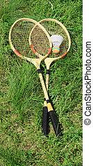 badminton, herbe, raquettes, vert