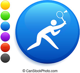 badminton icon on round internet button original vector...