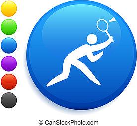 badminton icon on round internet button