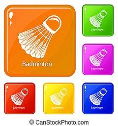 Badminton icons set color