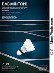 badminton, illustration, championnat, vecteur, affiche