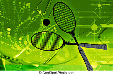Badminton - Illustration of a symbol of badminton racket and...