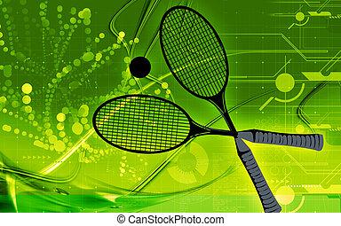 Badminton - Illustration of a symbol of badminton racket and...