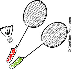 Illustration of two rackets and a shuttlecock