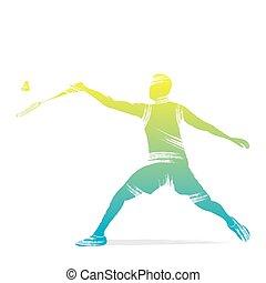 badminton, jogador, desenho