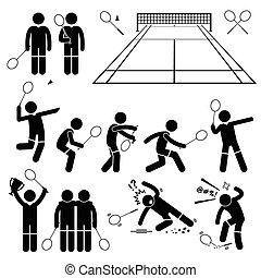badminton, jogador, poses, ações