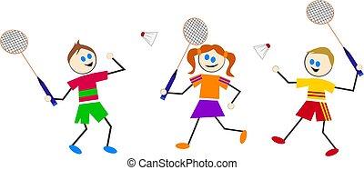 badminton kids - kids playing sports