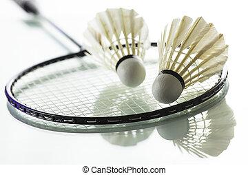 Badminton on white background