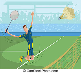 cartoon style badminton player in vector