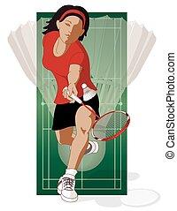 badminton player, female, hitting shuttle with shuttlecock...