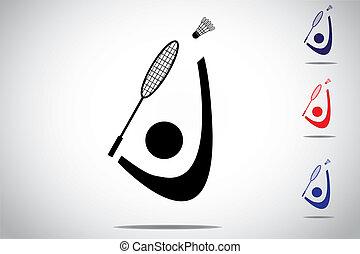 Badminton player playing smashing shuttlecock with racket. ...